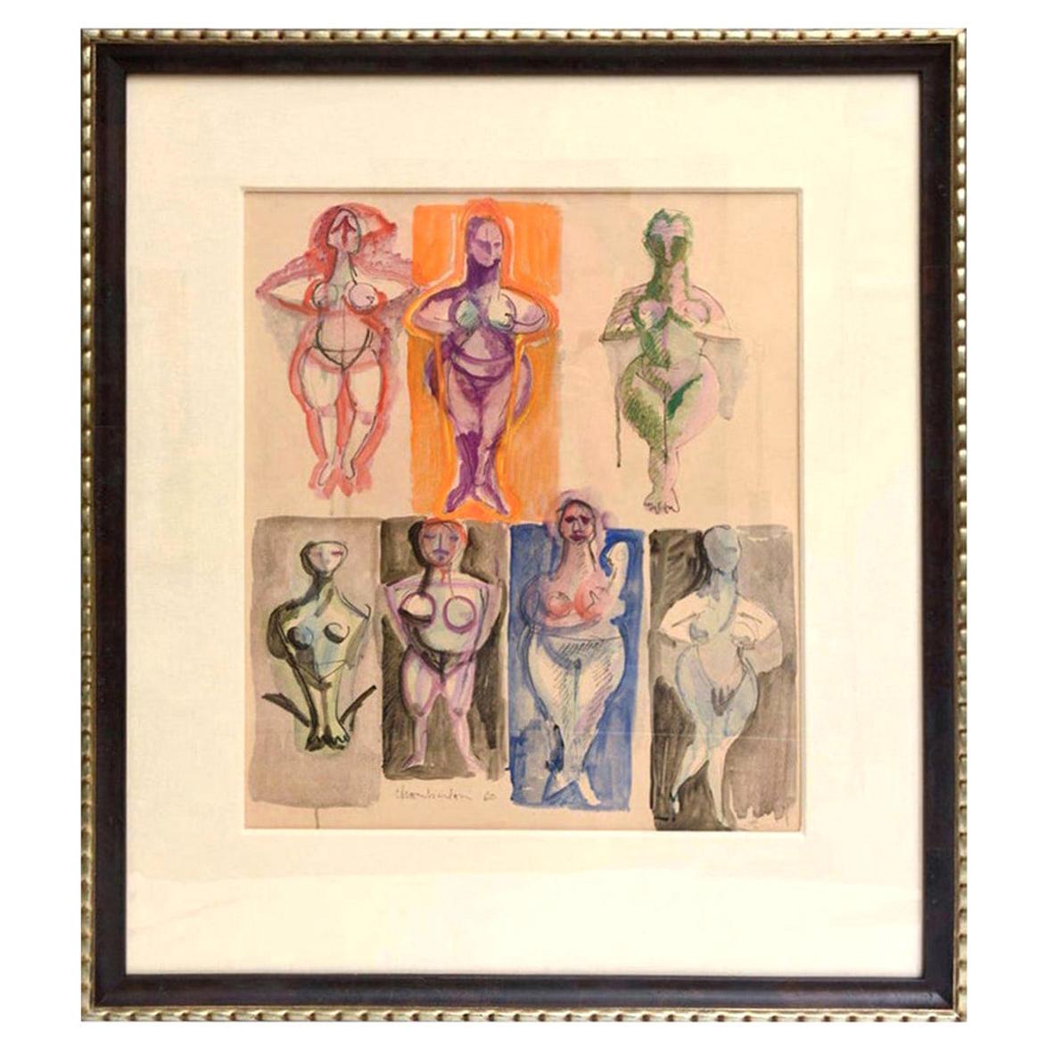 Chamberlain Signed Watercolor Mid-Century Modern Custom Museum Framed