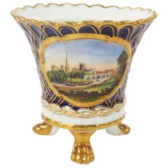 Chamberlain Worcester Three Footed Pot with a View of Worcester, 1820s