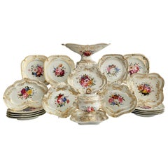 Chamberlains Worcester Dessert Service, White with Flowers, Regency, ca 1822