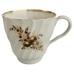 Chamberlains Worcester Orphaned Coffee Cup, Sepia Flower Sprays, Georgian ca1795