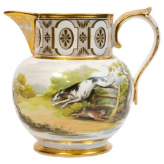 Chamberlains Worcester Pitcher Showing Hand Painted Hunt Scene w/ Dogs & Rabbit