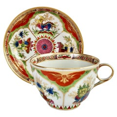 Chamberlains Worcester Porcelain Breakfast Cup, Dragons in Compartments, Ca 1800