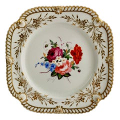 Chamberlains Worcester Porcelain Plate, White with Flowers, Regency ca 1822 '1'