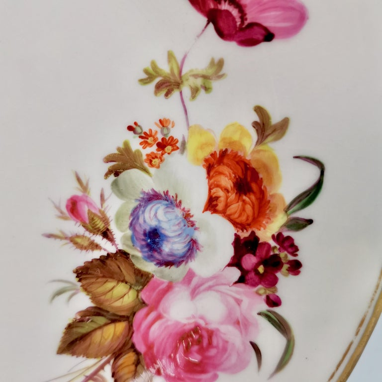 Chamberlains Worcester Porcelain Plate, White with Flowers Victorian, circa 1846 2