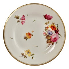 Chamberlains Worcester Porcelain Plate, White with Flowers Victorian, circa 1846