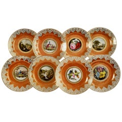 Chamberlains Worcester Set of Plates, Orange, Paintings by H. Chamberlain, 1815