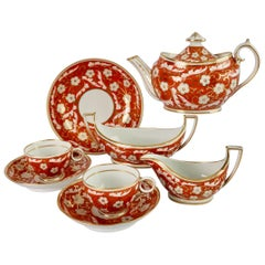 Chamberlains Worcester Tiny Tea Service for Two, Orange Floral, Regency ca 1805