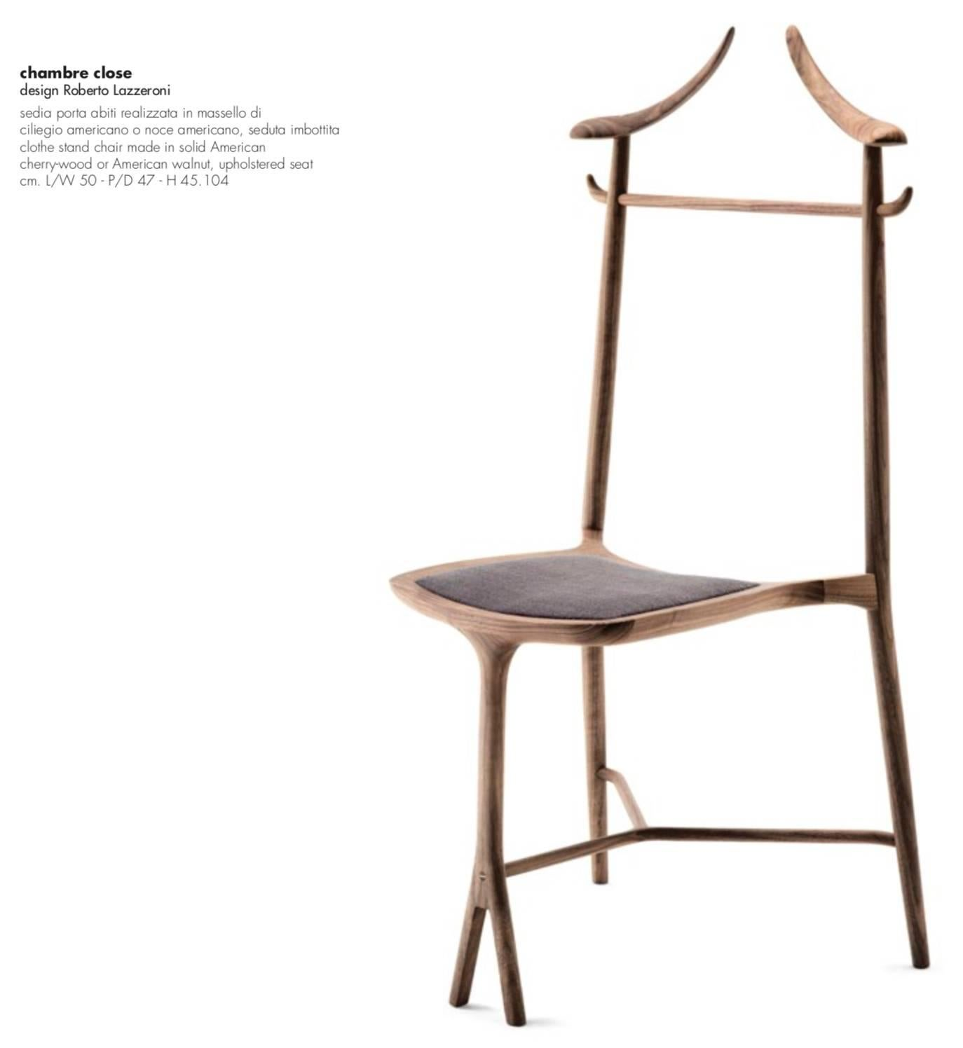 Stained Chambre Close Clothes Stand And Chair Made In Solid Cherry Or  Walnut By Ceccotti For