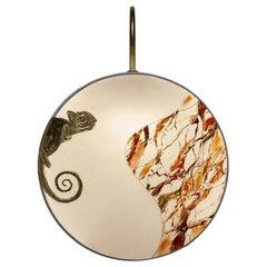 Chameleon Pattern Sconce Lamps Handmade Painting Velvet and Brass Natural