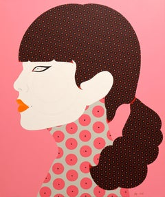 Berjit - Contemporary, woman portrait, acrylic, dot, pop art, pink, brown