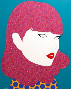 Carin - Contemporary, woman portrait, acrylic, dot, pop art, pink, turquoise
