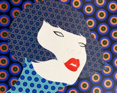Hisa - Contemporary, asian woman portrait, acrylic, dot, pop art, blue, copper