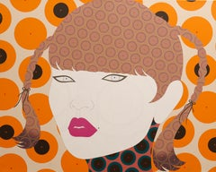 Chiyo - Contemporary, asian woman portrait, acrylic, dot, pop art, orange