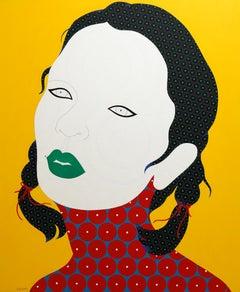 Vigga - Contemporary, woman portrait, acrylic, dot, pop art, yellow, asian