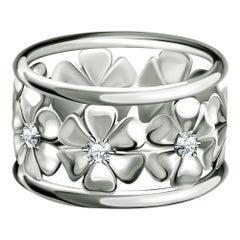"""Chamomiles"" 14 Karat White Gold Diamond Cocktail Ring"
