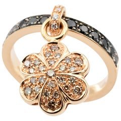 Champagne and Black Diamonds Flower Charm Ring Made in Italy