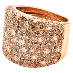 Champagne and White Diamond Rose Gold Ring Made in Italy