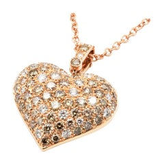 Champagne and White Diamonds Rose Gold Heart Necklace Made in Italy