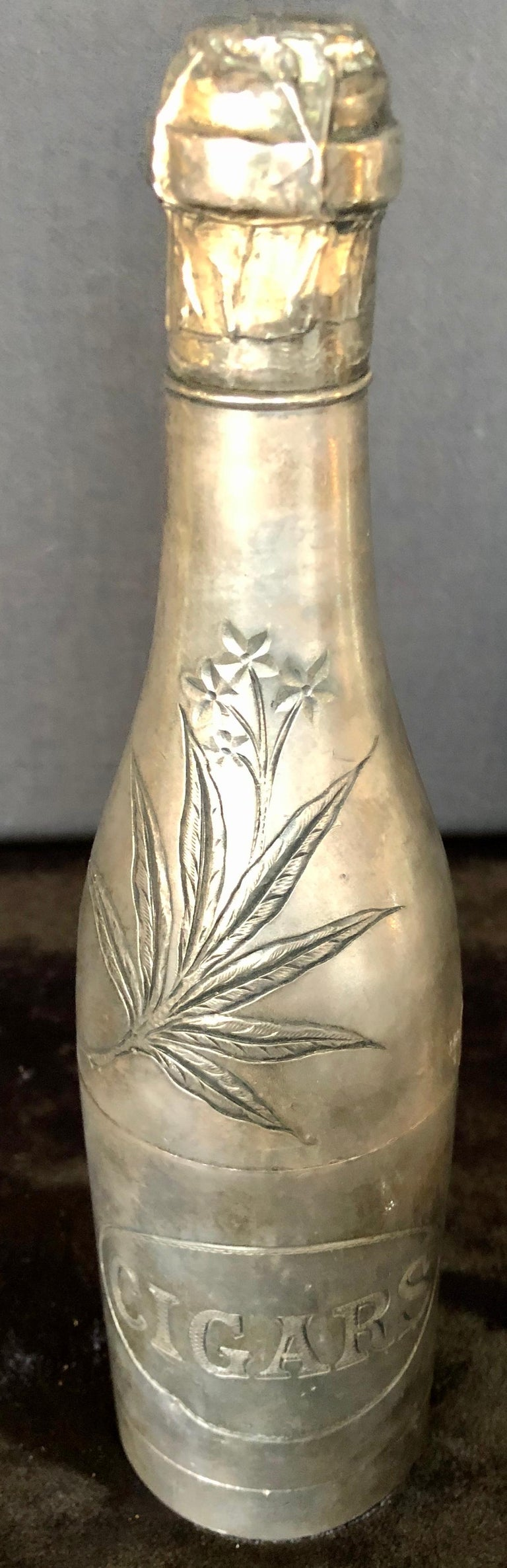 Folk Art Champagne Bottle Cigar Holder Pairpoint Manufacturing.Co. Part of a Large Collec For Sale