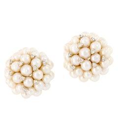 Champagne Bubble Pearl Diamond Cluster Earrings