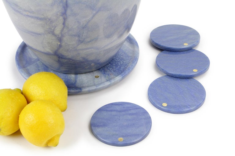 Champagne Bucket and set coasters in solid Blue Azul Macaubas by Pieruga Italy In New Condition For Sale In Ancona, Marche