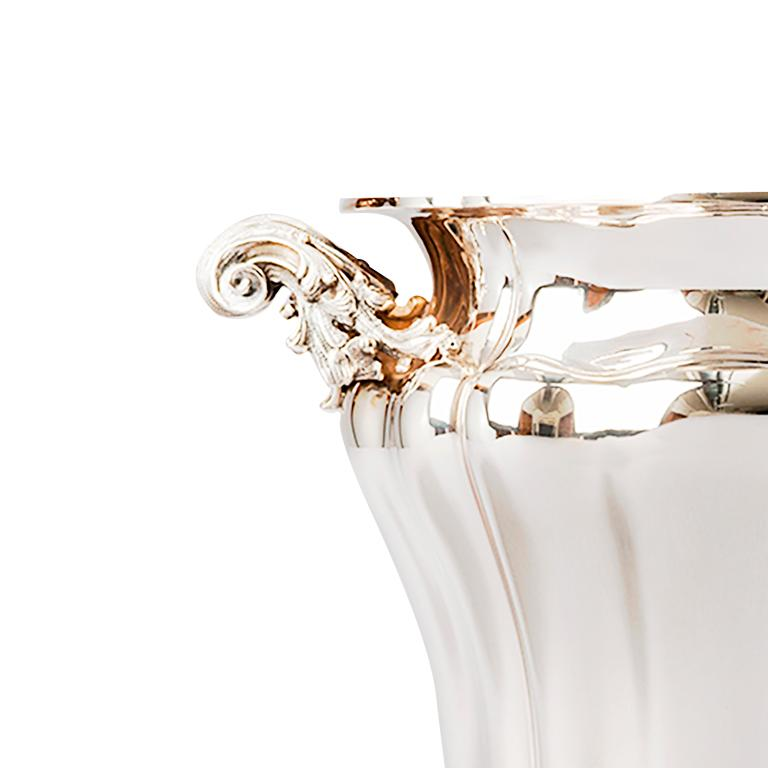 Sterling silver embossed champagne bucket or perfect wine cooler - Made in Italy - ag/925/g 2270 Completely handmade in our workshop in Milano Ganci Argenterie - hallmark 110MI - one of the oldest Italian Silversmith.