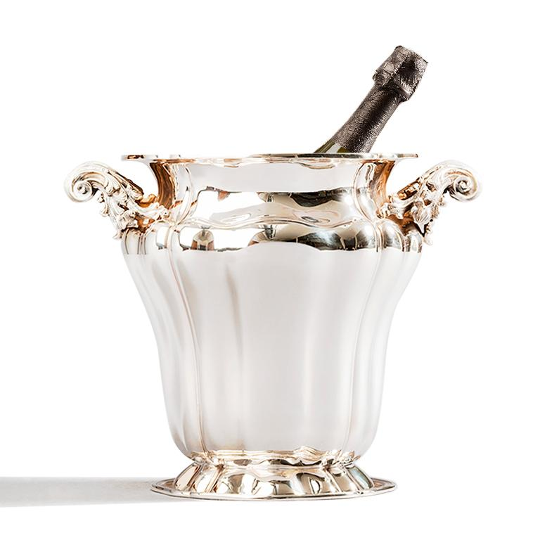 Hand-Crafted Champagne Bucket, Sterling Silver Embossed Champagne Bucket, Made in Italy For Sale