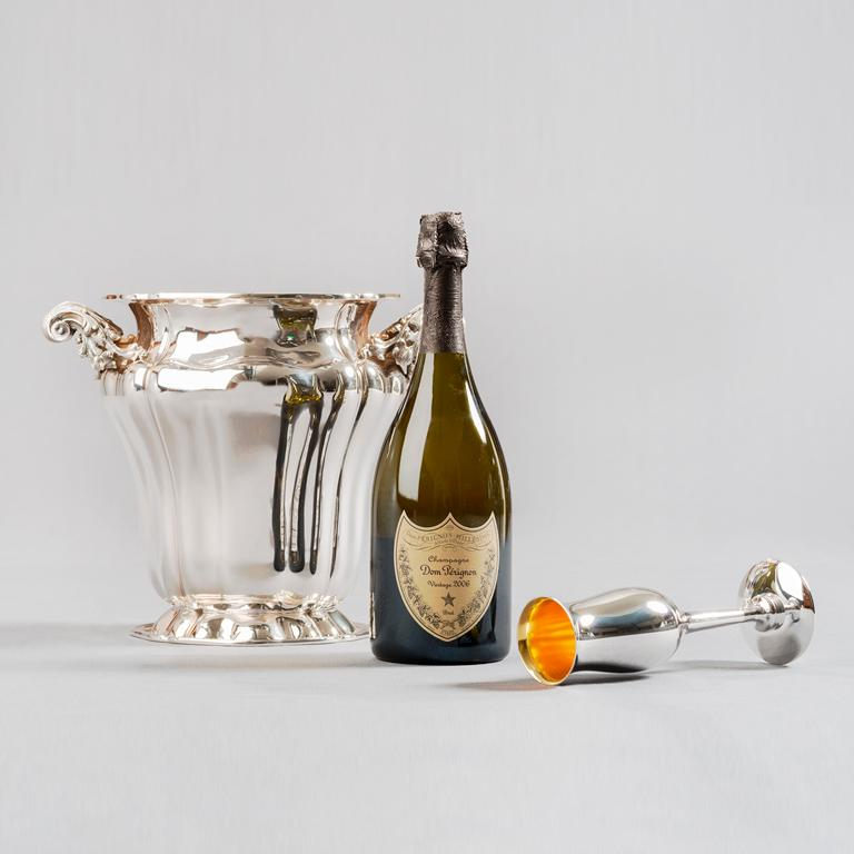 Champagne Bucket, Sterling Silver Embossed Champagne Bucket, Made in Italy In New Condition For Sale In Milano, IT