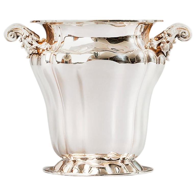 Champagne Bucket, Sterling Silver Embossed Champagne Bucket, Made in Italy For Sale