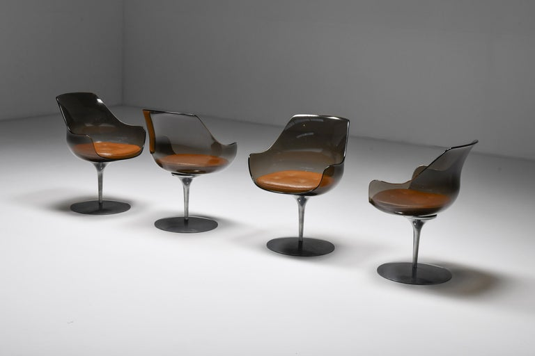 Champagne chairs, dining chairs, Estelle & Erwin Laverne, Formes Nouvelles  Set of four Mid-Century Modern dining room