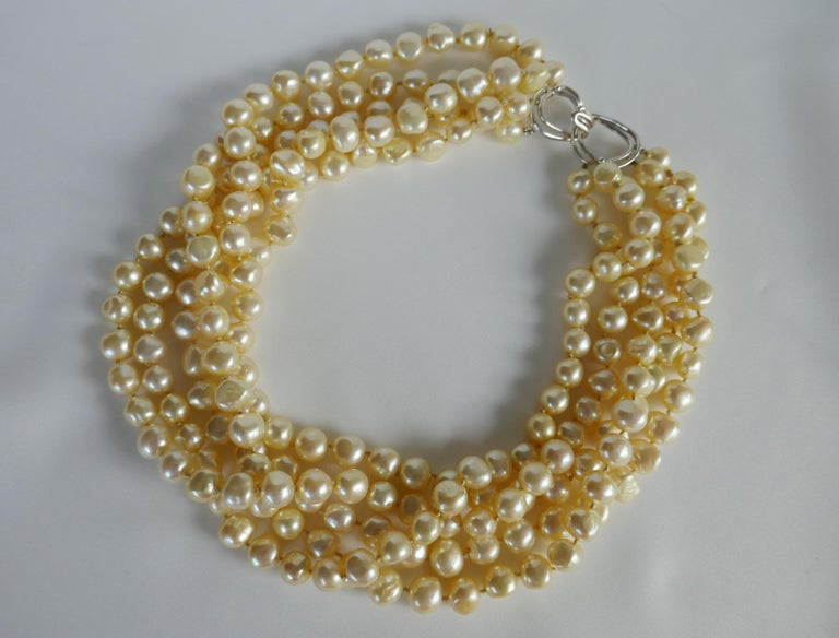 Contemporary Champagne Cultured Nugget Pearls 925 Sterling Silver Clasp Necklace For Sale