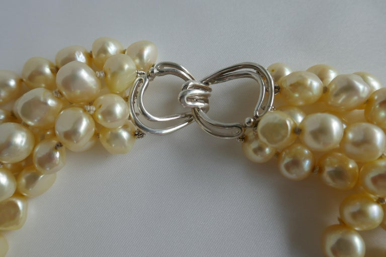 Champagne Cultured Nugget Pearls 925 Sterling Silver Clasp Necklace In New Condition For Sale In Coral Gables, FL