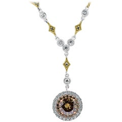 Champagne Diamond 2.61 Carat Total Double Halo Two-Color Gold Pendent Necklace