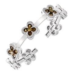 Champagne Diamond and Gold 36 Grams Cuff Bangle /Bracelet in 18 Karat White Gold