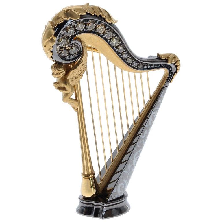 Champagne Diamond Enamel 18 Karat Yellow Gold Harp Brooch For Sale