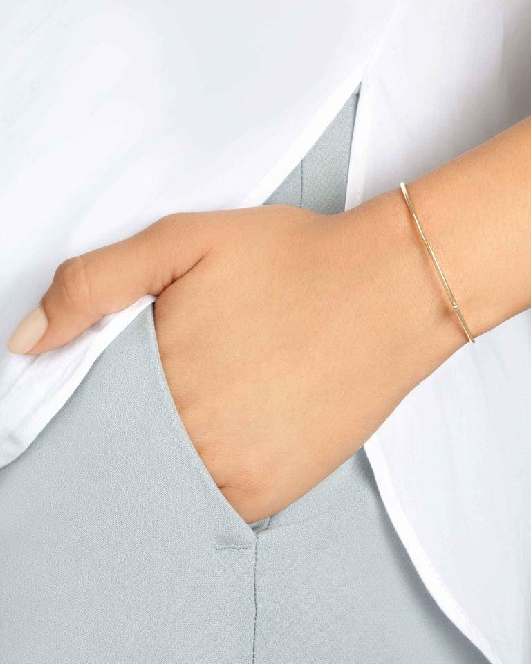 Round Cut Champagne Diamond Cuff Bracelet in 18k Gold by Allison Bryan For Sale