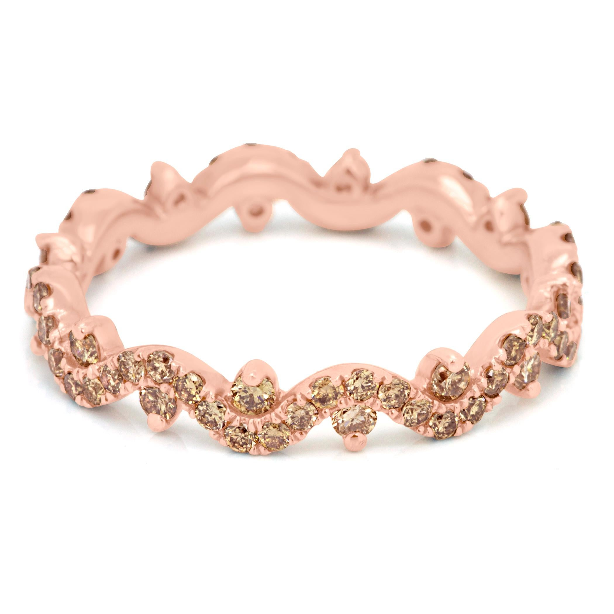 014ec92fd18 Champagne Diamond Rose Gold Stackable Fashion Cocktail Band Ring For Sale  at 1stdibs