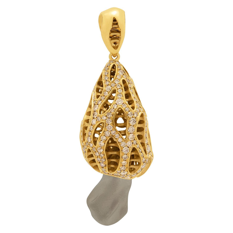 Champagne Diamonds 18 Karat Yellow Gold Mushroom Pendant