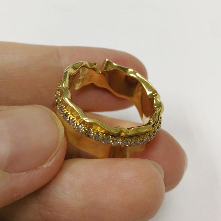 Champagne Diamonds 18 Karat Yellow Gold Pret-a-Porter Ring For Sale 1