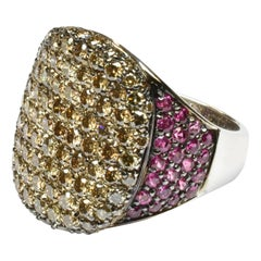 Champagne Diamonds and Rubies White Gold Ring Made in Italy