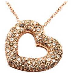 Champagne Diamonds Rose Gold Heart Pendant Necklace Made in Italy
