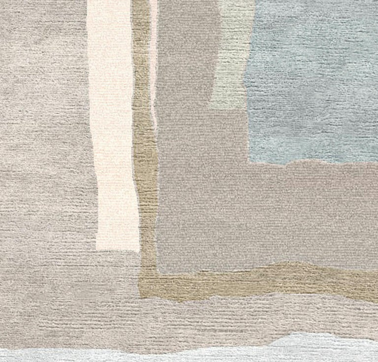Nepalese Champagne for Charlotte Hand-Tufted Wool and Viscose Rug For Sale