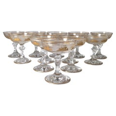 A Magnificent Set of 12 Champagne Glasses Made By Val St. Lambert, Panel Cut