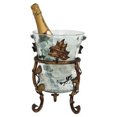 Champagne or Wine Cooler Ice Bucket Stand in Gilt Iron and Glass