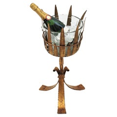 Champagne or Wine Cooler Stand Ice Bucket / Drinks Stand in Gilt Iron and Glass