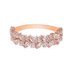 Champagne Peach Marquise Morganite Unique Half Eternity Wedding Ring Rose Gold