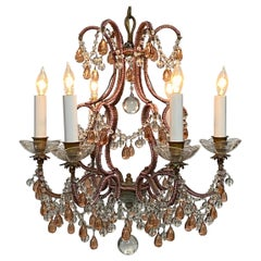 Champagne Pink Beaded Crystal and Glass Chandelier, Italy circa 1950