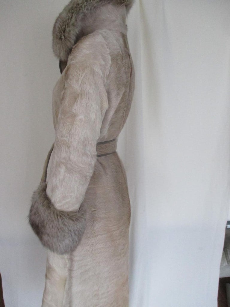 Gray Champagne Pony Fox Fur Coat For Sale
