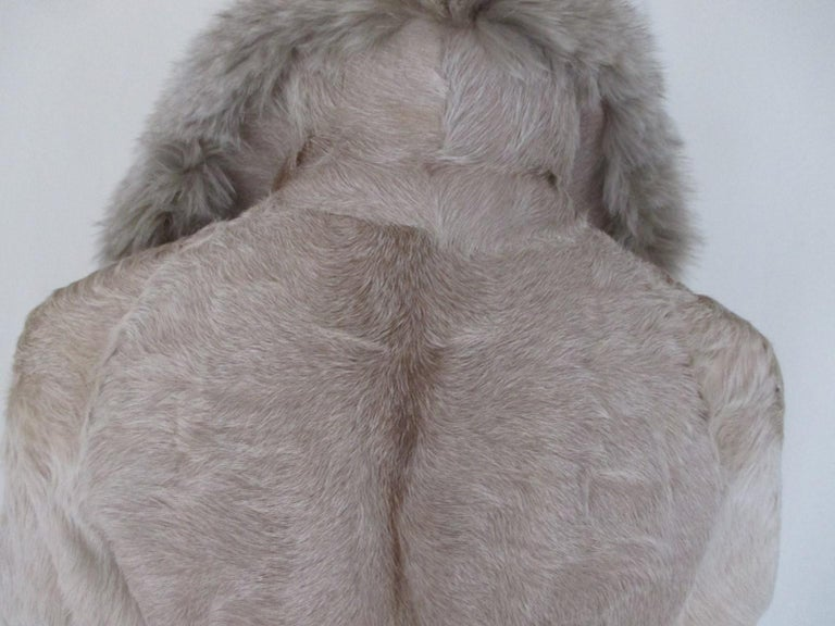 Women's or Men's Champagne Pony Fox Fur Coat For Sale
