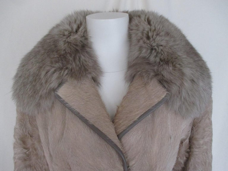 Champagne Pony Fox Fur Coat For Sale 1